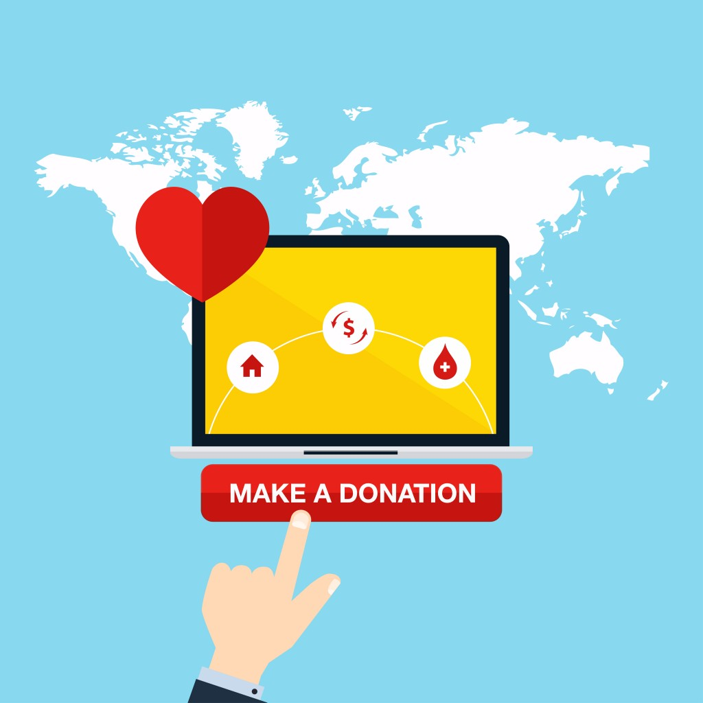 Concept for charity online service. Medical donations, internet